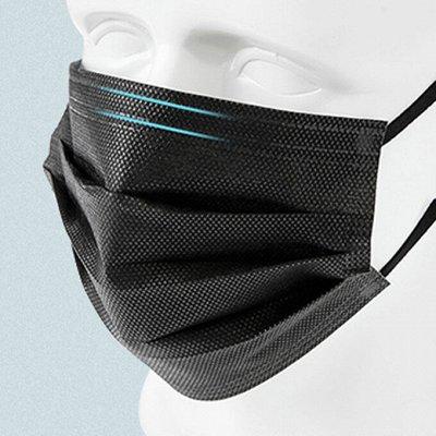 Черные одноразовые маски, трехслойные, 50 шт за 195 рублей