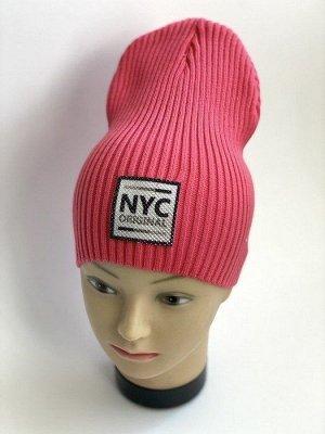 "Шапка вязаная ""NYC"" кораллового цвета"