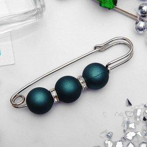 """Булавка """"Трио"""" 7см, шар №14, цвет матовый темно-зеленый в серебре"""