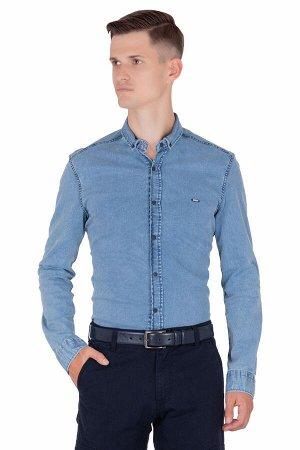 Сорочка Модель A1-модель. Цвет джинс. Состав хлопок-97%, эластан-3%. Бренд Tricko. Фактура однотонная. Посадка casual