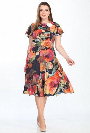 Платье Elletto 1290 оранжевые цветы