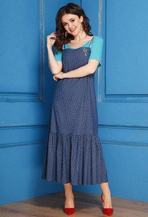 Сарафан+блуза Anastasia 280 бирюза-синий