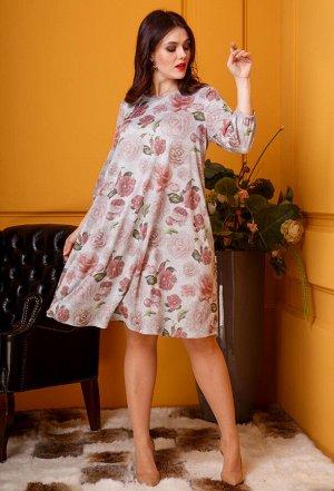 Платье Anastasia 380 серые цветы