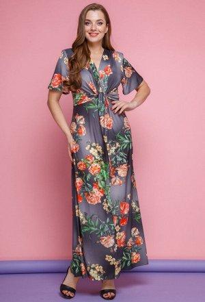 Платье Anastasia Mak 483 серые цветы
