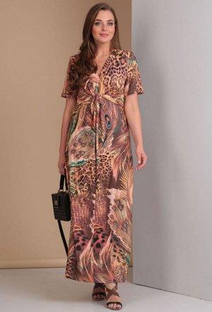 Платье Anastasia Mak 483 коричневые перья