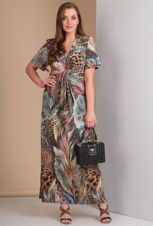 Платье Anastasia Mak 483 зеленые перья