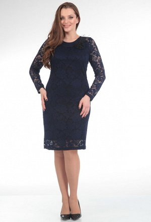 Платье Anastasia Mak 233 синий (прямой низ)