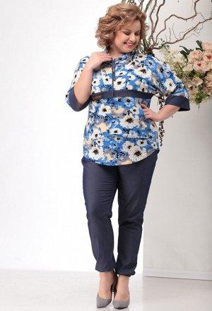Мишель Шик 1118 синий цветы