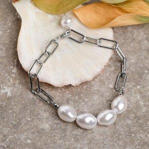 """Браслет жемчуг """"Барокко"""" цепь, цвет белый в серебре,L=18см"""