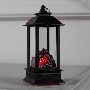 """Фигура световая """"Камин """" эффект горящего огня. 13х5х5 см. от бат. 2032 (в комплекте)"""