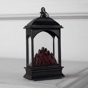 """Фигура световая """"Камин """" эффект горящего огня. 13х7х4 см. от бат. 2032 (в комплекте)"""