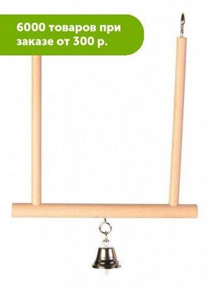 Игрушка для птиц Качели с колокольчиком 12,5*13,5 дерево