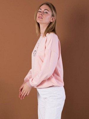 Джемпер молодёжный с вышивкой, цвет персиковый