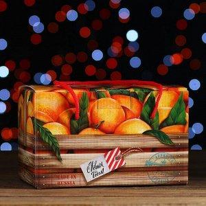 """Новогодний подарок """"Посылка, Мандарин веревочные ручки"""" картонная упаковка, 1000 г"""