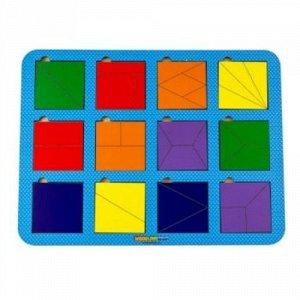 Сложи квадрат, Б.П.Никитин, 12 квадратов, ур. 1 (дерево)   28*19см
