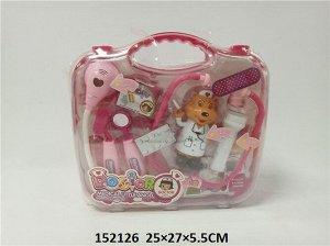 Набор доктора с игрушкой, роз. чемоданчик