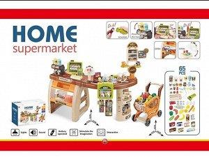 Супермаркет 65предм, тележка ,продукты, свет, звук. кор.  93*79*50см
