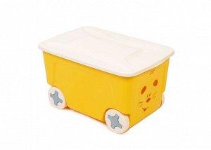 """Ящик для хранения """"COOL"""" 50л на колесиках, цв.желтый LA1032ЖТ"""
