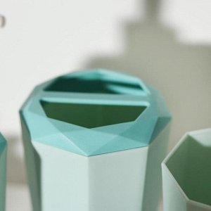 Набор аксессуаров для ванной комнаты, 4 предмета (дозатор, мыльница, подставка, стакан), цвет МИКС