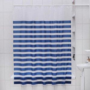 Штора для ванной комнаты Доляна «Полосы», 180?180 см, EVA