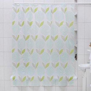 Штора для ванной комнаты Доляна «Одуванчики», 180?180 см, EVA