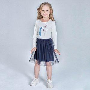 Платье для девочки, молочный, т.синий
