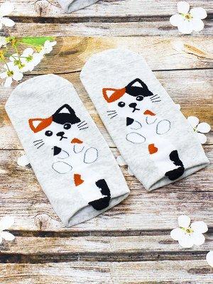 """Короткие носки р.35-40 """"Котята с хвостом"""" Серые"""