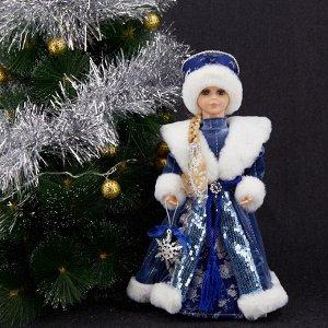 """Снегурочка Декоративная кукла """"Снегурочка"""" Двигается и поет. Высота 40 см. Питание от батареек (в комплект поставки не входят). Упаковка - картонная коробка."""