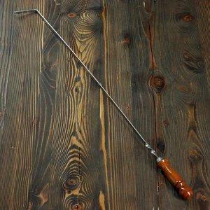 Кочерга узбекская с деревянной ручкой, с узором, 70*1см, сталь 3мм