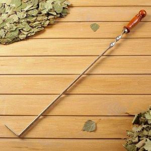 Кочерга узбекская с деревянной ручкой, с узором, 50/1,6см, сталь 3мм