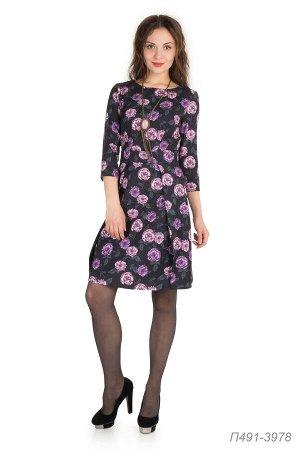 Платье 491 креп Барби черно-лиловый Розы