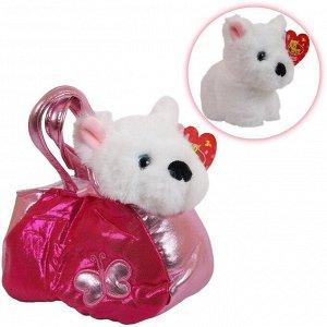 Животные в сумочках. Собачка белая 16 см, игрушка мягкая19