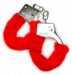Металлические наручники с красной опушкой и ключиком