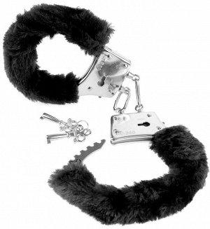 Меховые чёрные наручники Beginner's Furry Cuffs