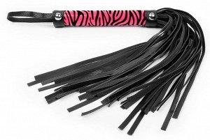 Черная многохвостовая плеть с круглой розовой ручкой-зеброй - 39 см.