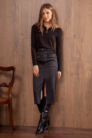 Юбка миди Рост: 170 см. Состав ткани:  Стильная юбка из костюмной ткани с блестящей поверхностью на притачном поясе. Застежка в среднем шве переда на пуговицу и молнию. Переднее полотнище с двумя накл