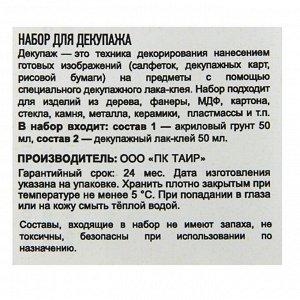 Декупаж набор «Таир» 2 штуки по 50 мл: Клей-лак, Грунт Акриловый