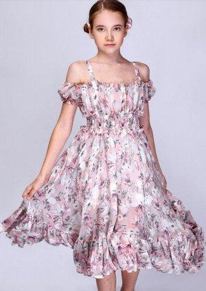 """Платье """"Открытые плечи со сборкой по талии"""""""