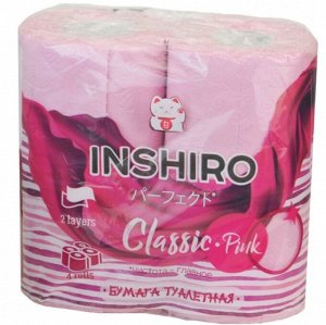 Бумага туалетная INSHIRO Розовый 2-х сл. 4шт. в упак