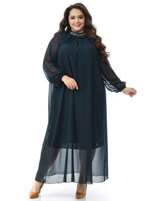 Платье вечернее с воротником стойка, шифон изумрудный