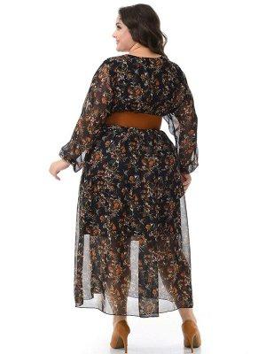 Платье из шифона, ярусы, принт красивый черный
