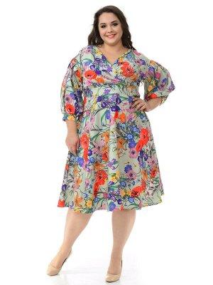 Платье с драпировкой и пышной юбкой, принт ментоловый