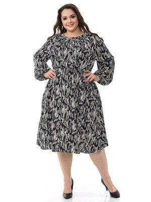 Платье из штапеля с мягкими защипами по горловине, принт черно-белый