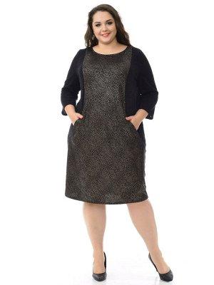 Платье с рельефами из ангоры, черное