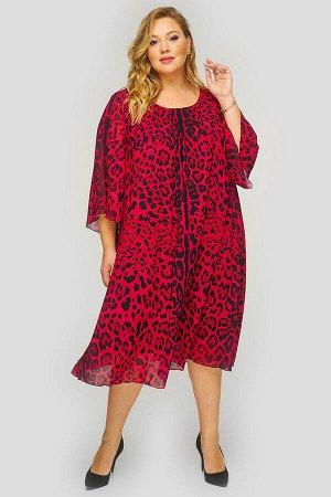 Платье с защипами по горловине, шифон принт леопард красный