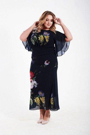Платье длинное из французского шифона с коротким рукавом