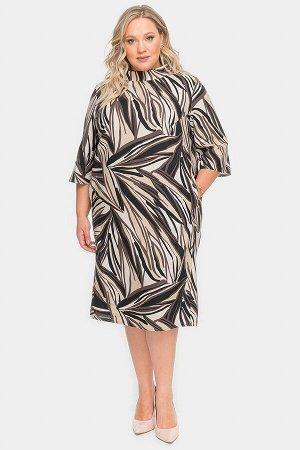 Платье из льна с карманами, принт абстракция