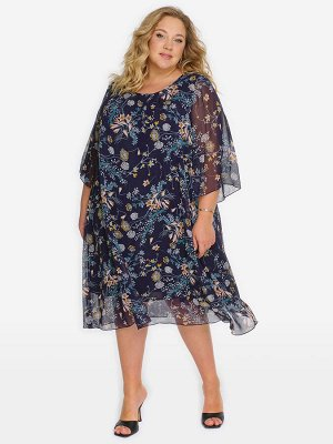 Платье с защипами по горловине, шифон принт цветочный на темно-синем