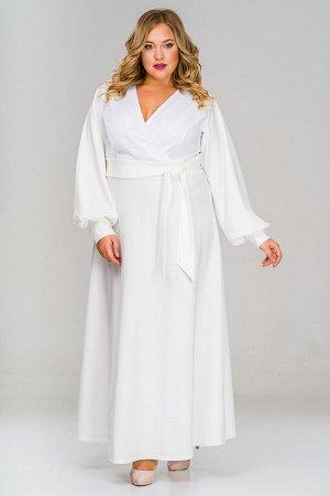 Платье длинное с манжетами, лиф дублирован кружевом, креп белый