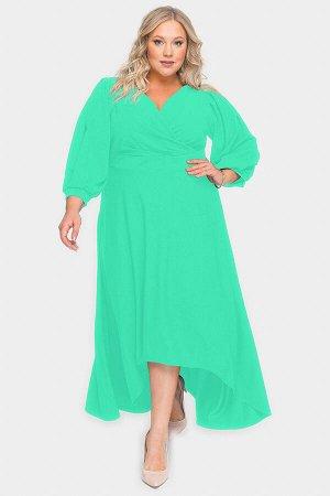 Платье вечернее с драпировкой и асимметричным низом, ментоловое